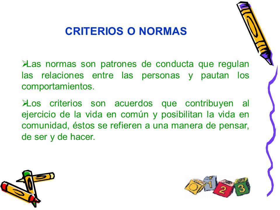 CRITERIOS O NORMAS Las normas son patrones de conducta que regulan las relaciones entre las personas y pautan los comportamientos.