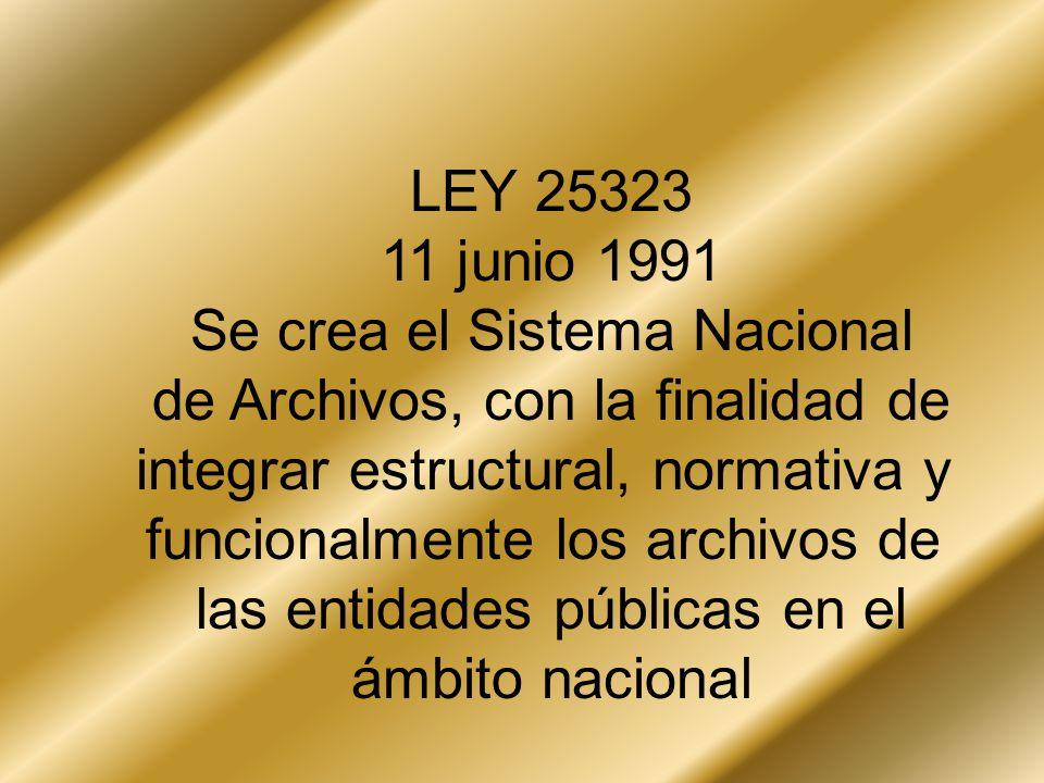 Se crea el Sistema Nacional de Archivos, con la finalidad de