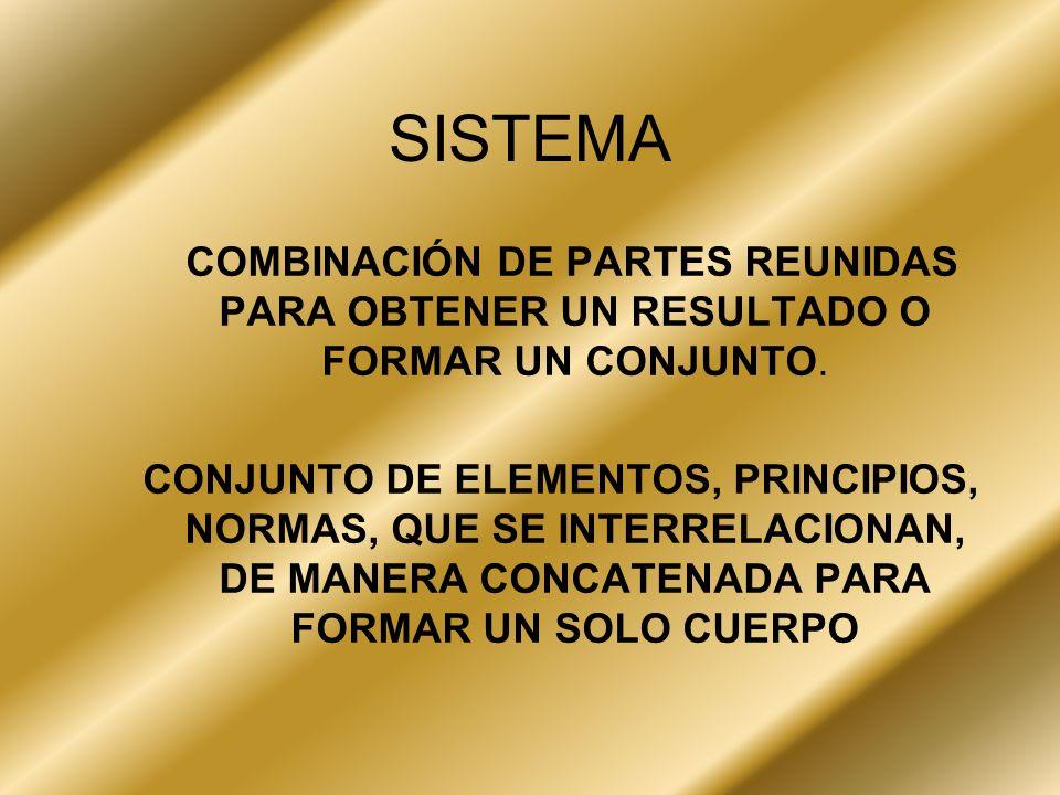 SISTEMACOMBINACIÓN DE PARTES REUNIDAS PARA OBTENER UN RESULTADO O FORMAR UN CONJUNTO.