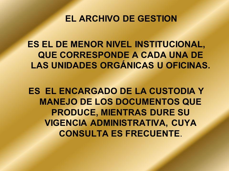 EL ARCHIVO DE GESTIONES EL DE MENOR NIVEL INSTITUCIONAL, QUE CORRESPONDE A CADA UNA DE LAS UNIDADES ORGÁNICAS U OFICINAS.