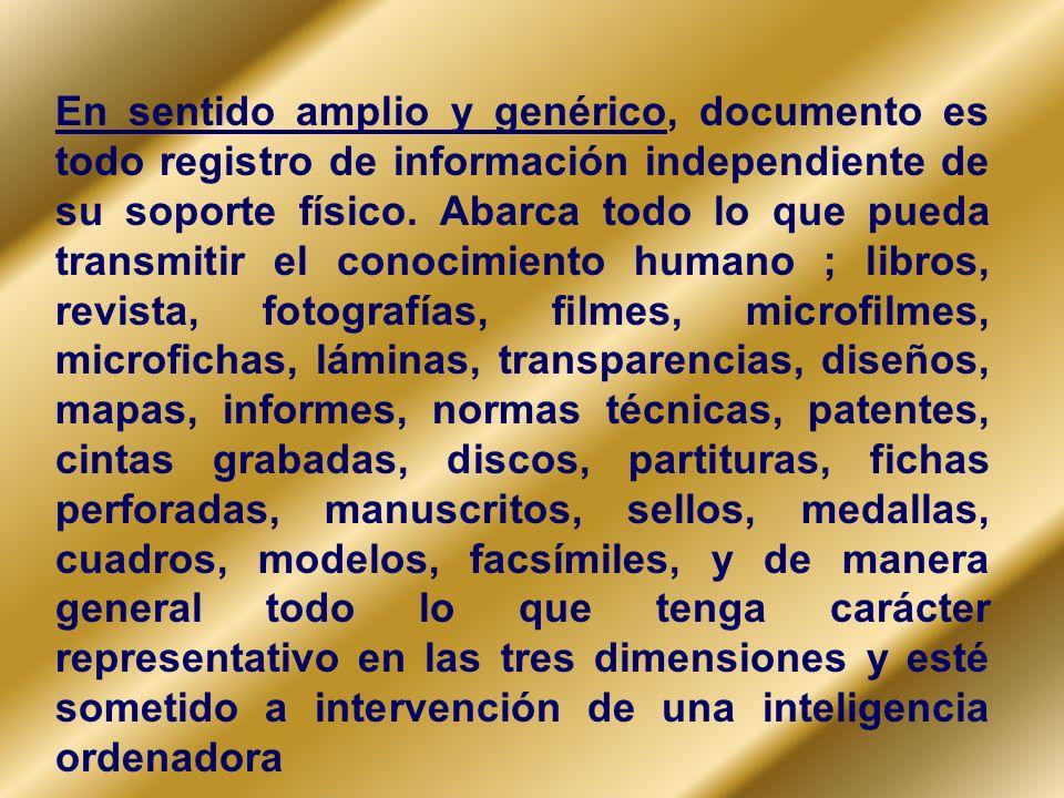 En sentido amplio y genérico, documento es todo registro de información independiente de su soporte físico.