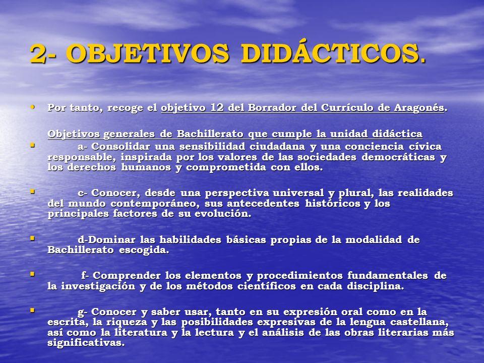 2- OBJETIVOS DIDÁCTICOS.