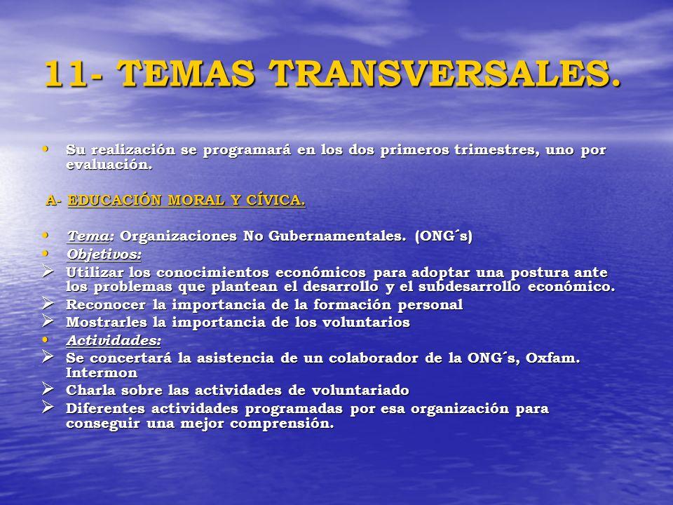 11- TEMAS TRANSVERSALES. Su realización se programará en los dos primeros trimestres, uno por evaluación.