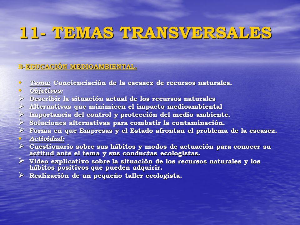 11- TEMAS TRANSVERSALES B-EDUCACIÓN MEDIOAMBIENTAL.