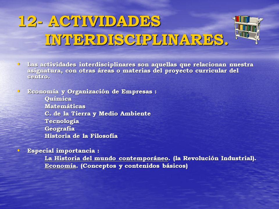 12- ACTIVIDADES INTERDISCIPLINARES.