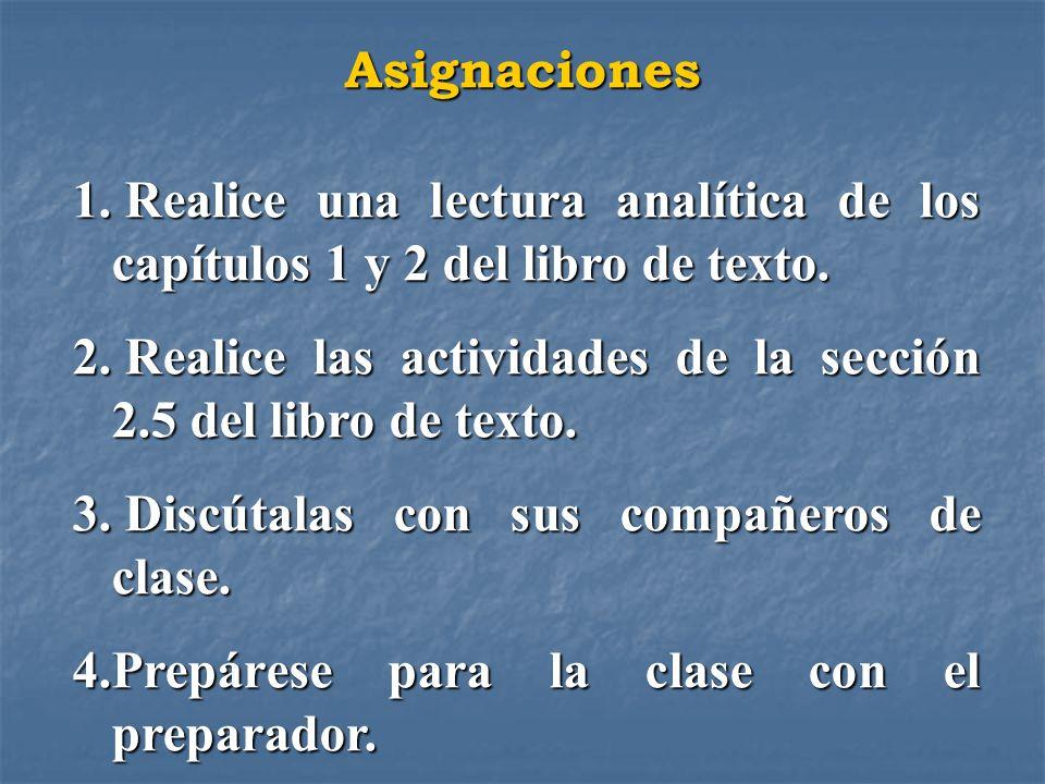 Asignaciones Realice una lectura analítica de los capítulos 1 y 2 del libro de texto. Realice las actividades de la sección 2.5 del libro de texto.