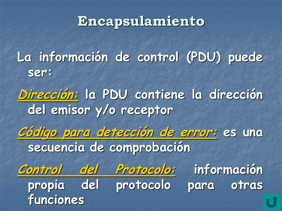 Encapsulamiento La información de control (PDU) puede ser: