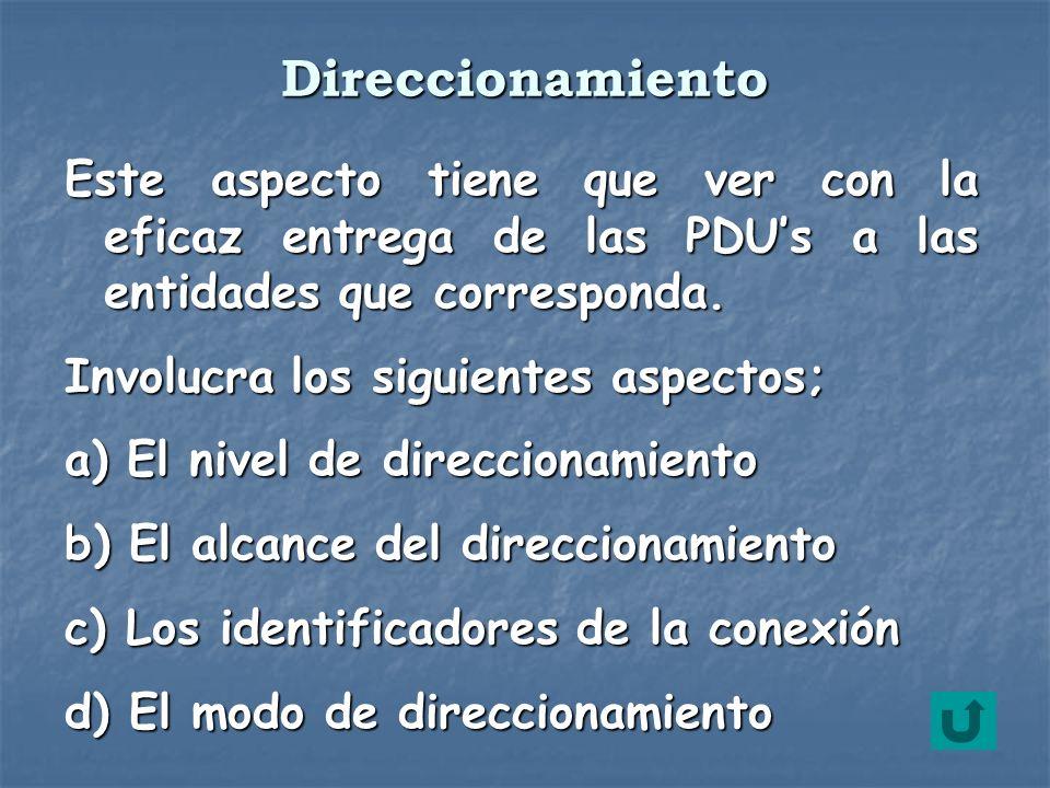 Direccionamiento Este aspecto tiene que ver con la eficaz entrega de las PDU's a las entidades que corresponda.