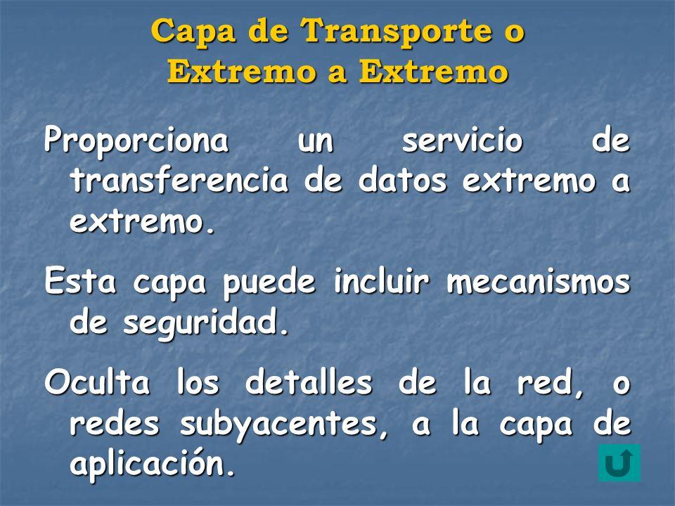 Capa de Transporte o Extremo a Extremo