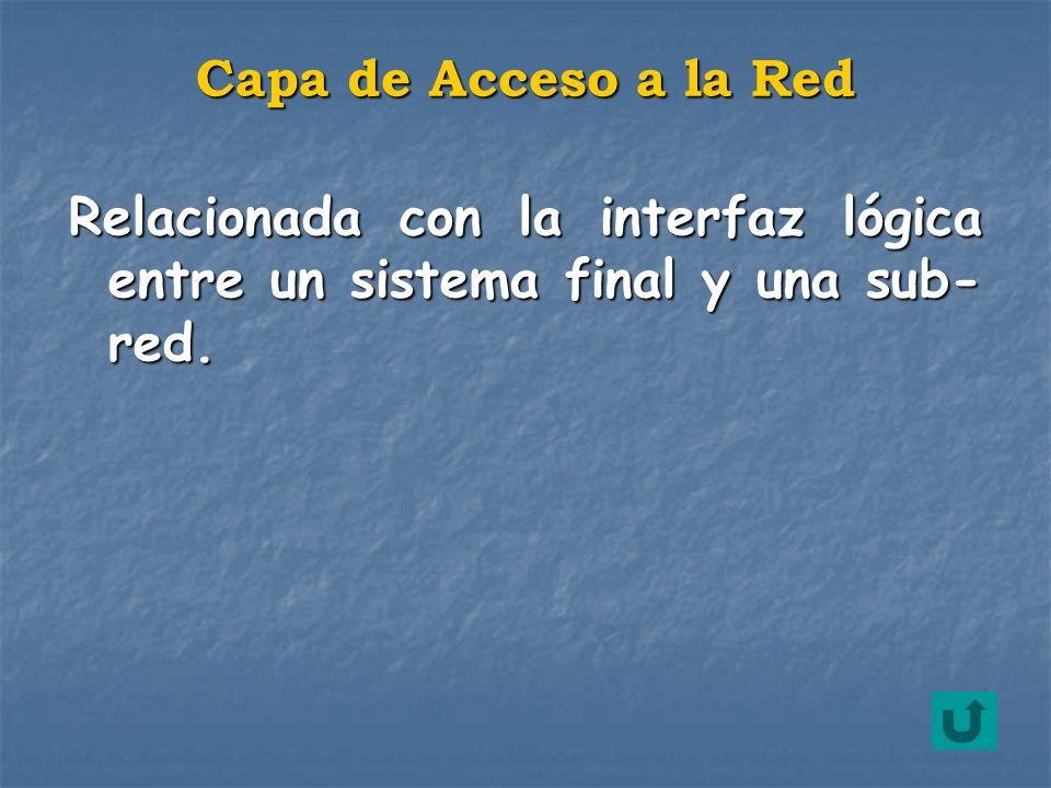 Capa de Acceso a la Red Relacionada con la interfaz lógica entre un sistema final y una sub-red.