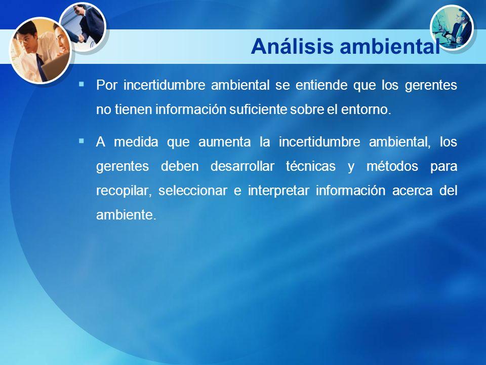 Análisis ambiental Por incertidumbre ambiental se entiende que los gerentes no tienen información suficiente sobre el entorno.