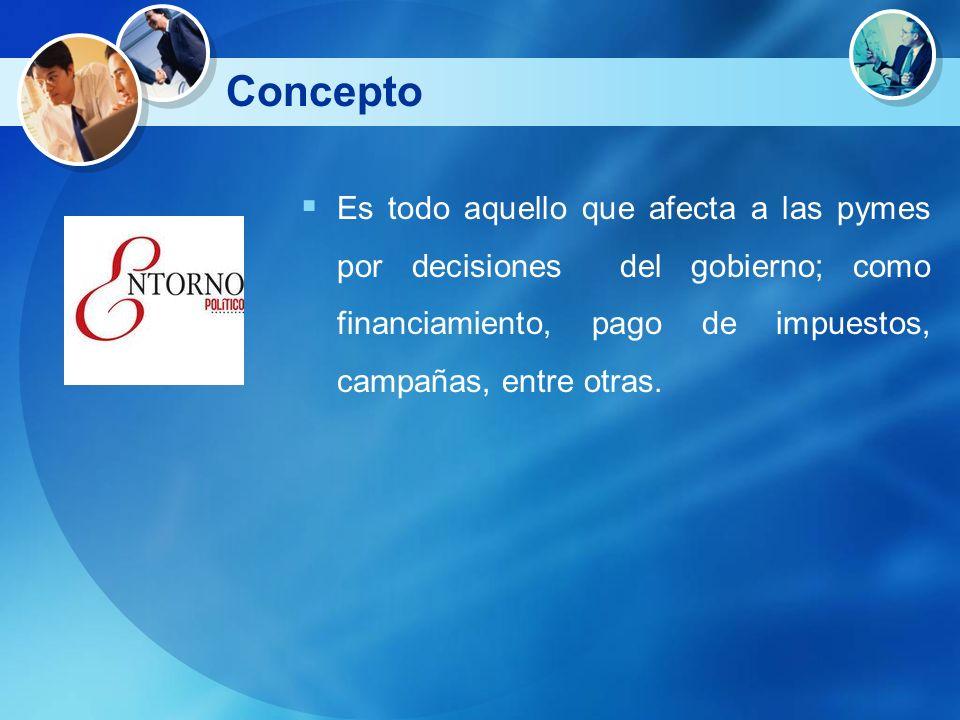ConceptoEs todo aquello que afecta a las pymes por decisiones del gobierno; como financiamiento, pago de impuestos, campañas, entre otras.