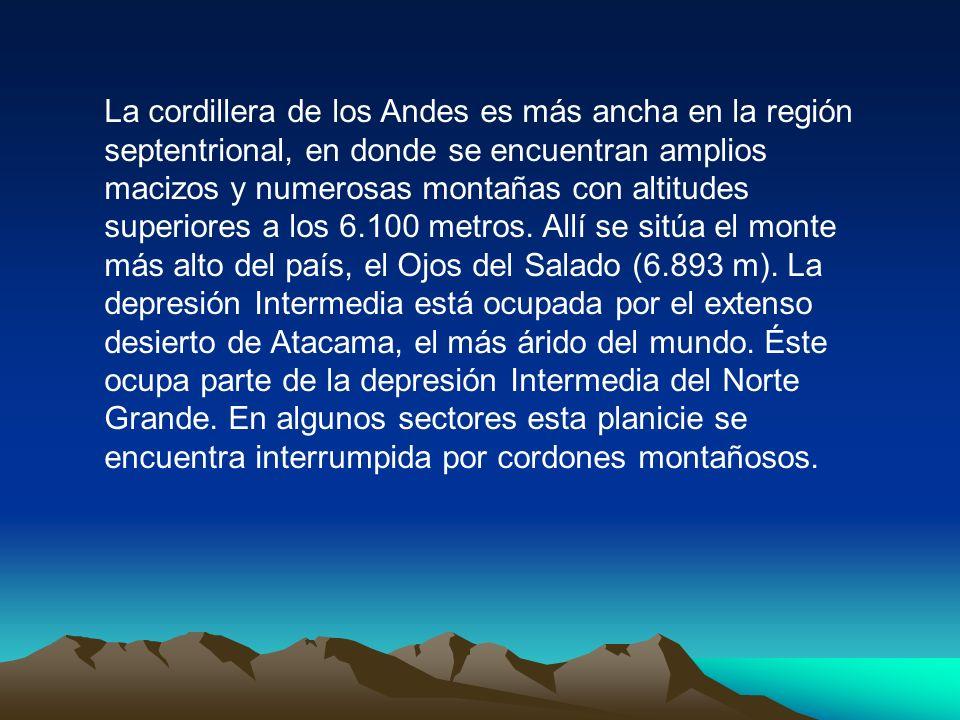 La cordillera de los Andes es más ancha en la región septentrional, en donde se encuentran amplios macizos y numerosas montañas con altitudes superiores a los 6.100 metros.