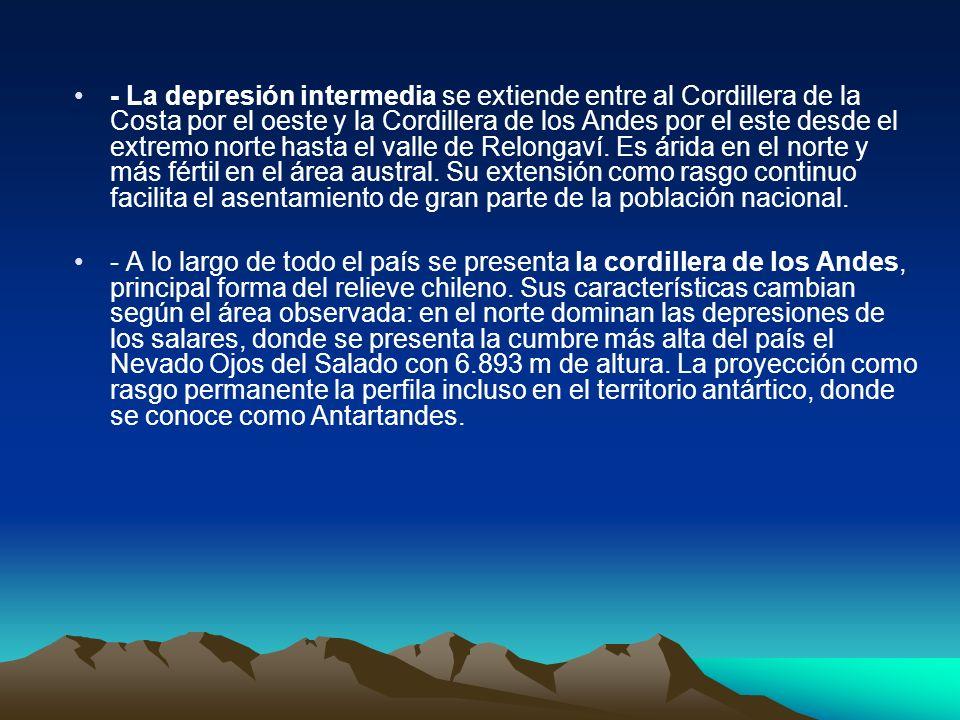 - La depresión intermedia se extiende entre al Cordillera de la Costa por el oeste y la Cordillera de los Andes por el este desde el extremo norte hasta el valle de Relongaví. Es árida en el norte y más fértil en el área austral. Su extensión como rasgo continuo facilita el asentamiento de gran parte de la población nacional.
