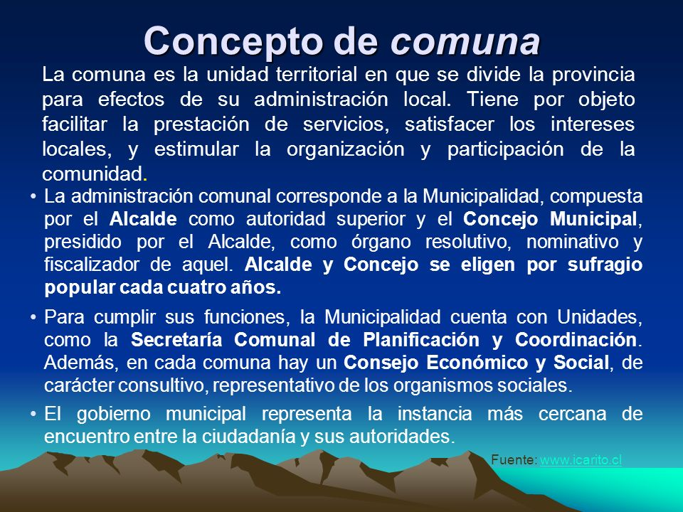 Concepto de comuna