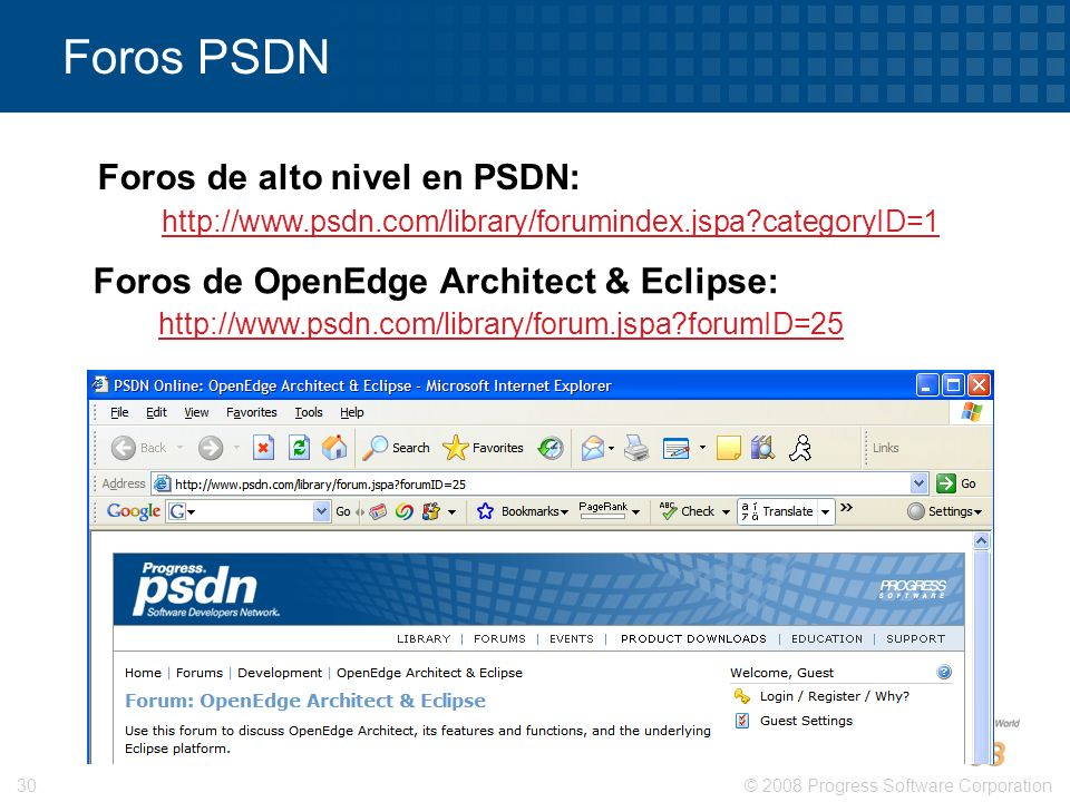 Foros de alto nivel en PSDN: Foros de OpenEdge Architect & Eclipse: