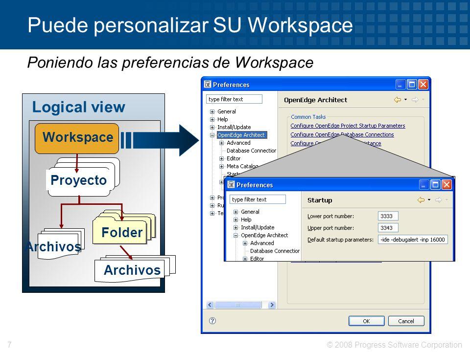 Puede personalizar SU Workspace