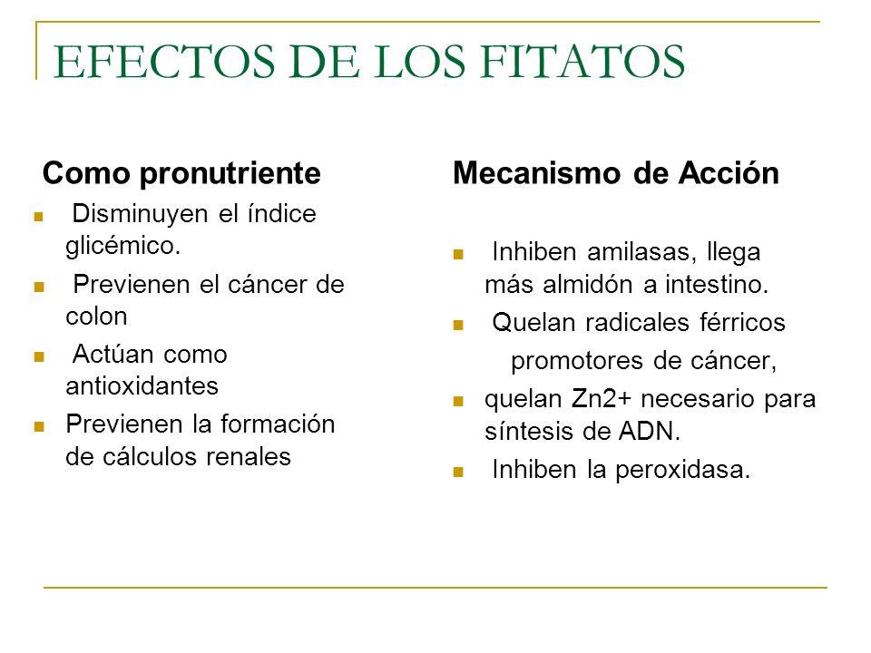 EFECTOS DE LOS FITATOS Como pronutriente Mecanismo de Acción