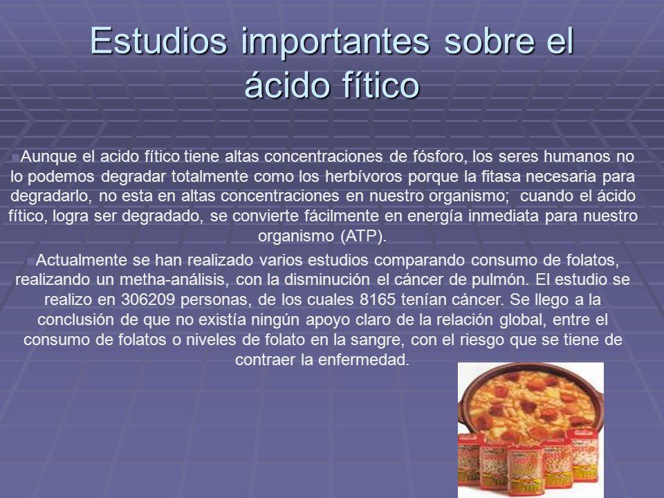 Estudios importantes sobre el ácido fítico