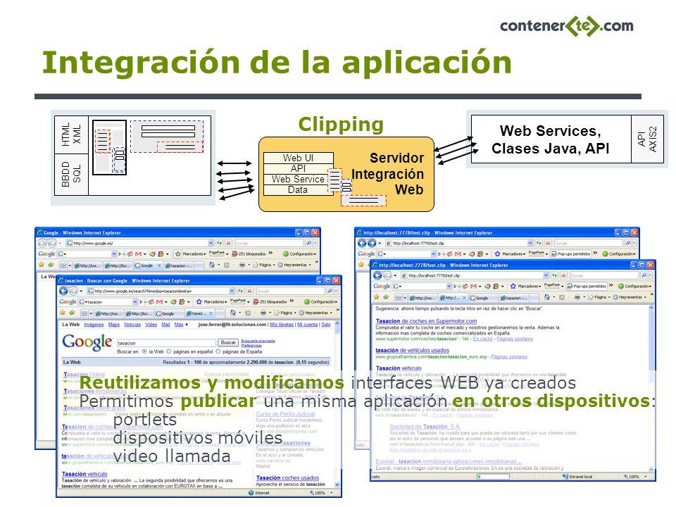 Integración de la aplicación