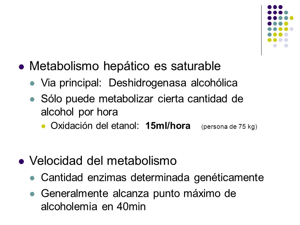 Metabolismo hepático es saturable