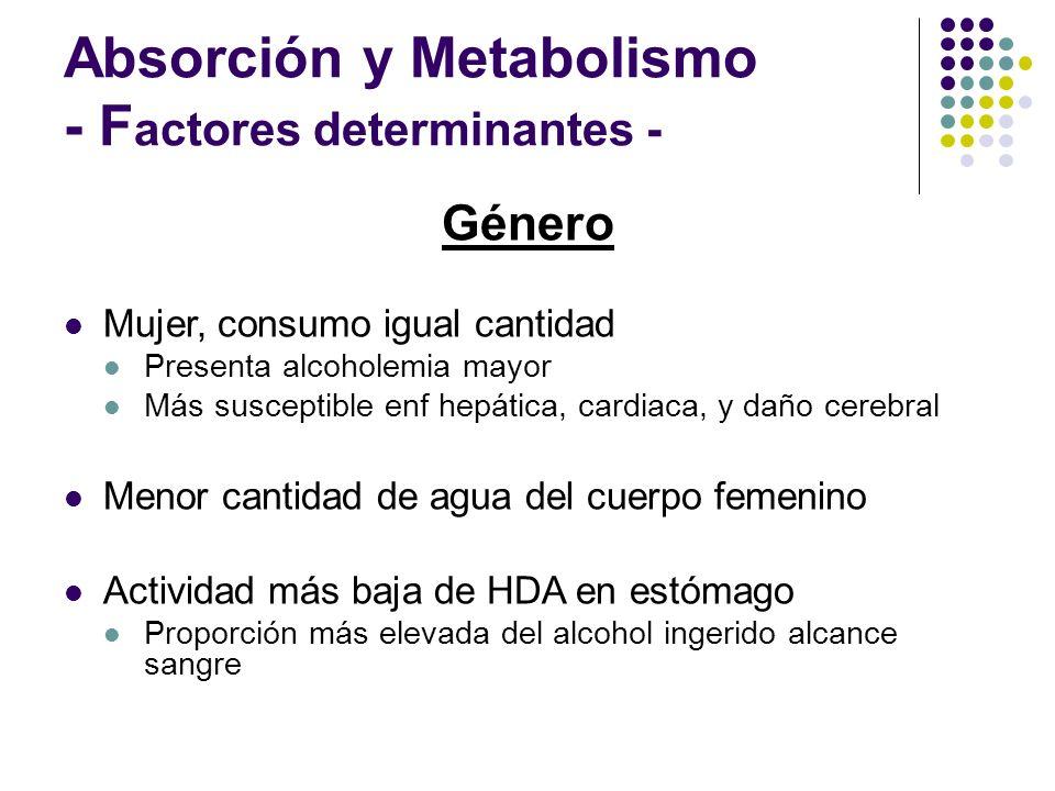 Absorción y Metabolismo - Factores determinantes -
