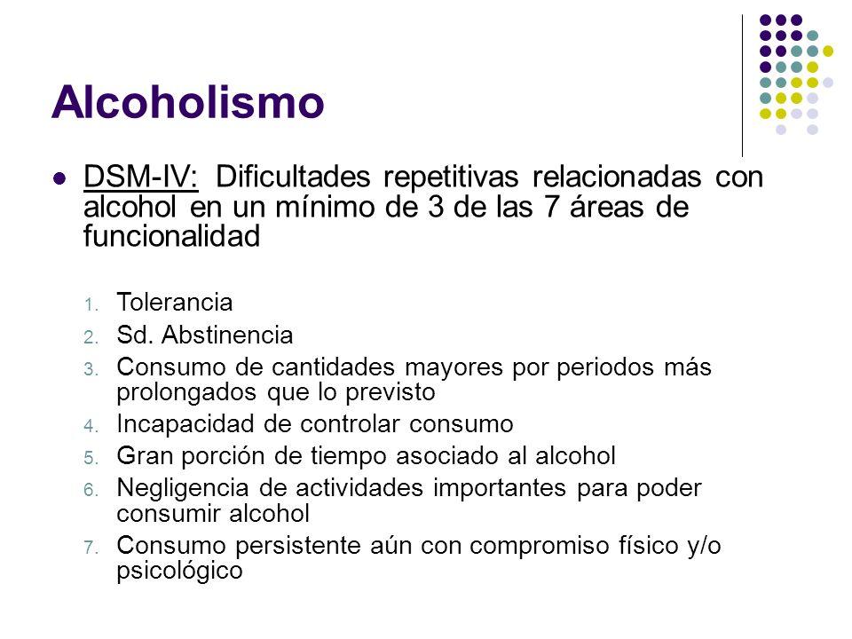 AlcoholismoDSM-IV: Dificultades repetitivas relacionadas con alcohol en un mínimo de 3 de las 7 áreas de funcionalidad.