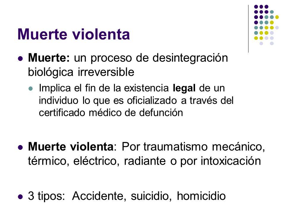 Muerte violenta Muerte: un proceso de desintegración biológica irreversible.