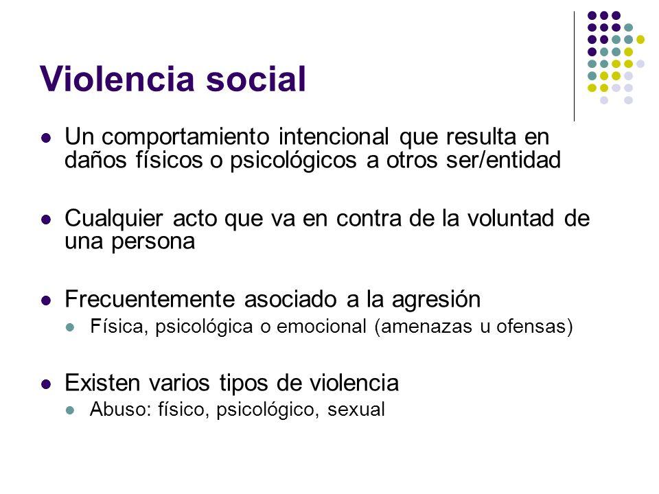 Violencia social Un comportamiento intencional que resulta en daños físicos o psicológicos a otros ser/entidad.