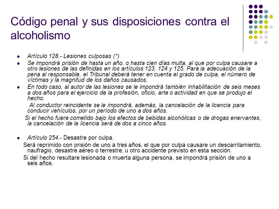 Código penal y sus disposiciones contra el alcoholismo