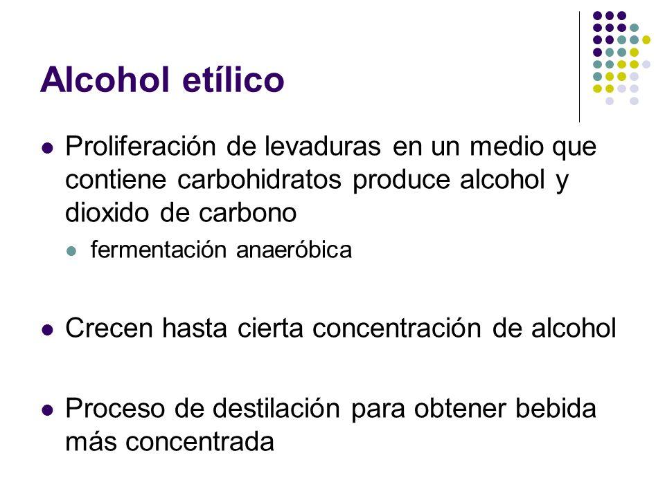 Alcohol etílico Proliferación de levaduras en un medio que contiene carbohidratos produce alcohol y dioxido de carbono.