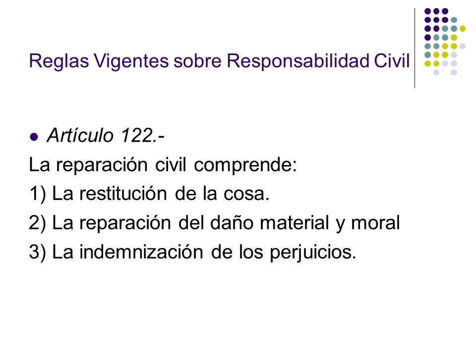 La reparación civil comprende: 1) La restitución de la cosa.