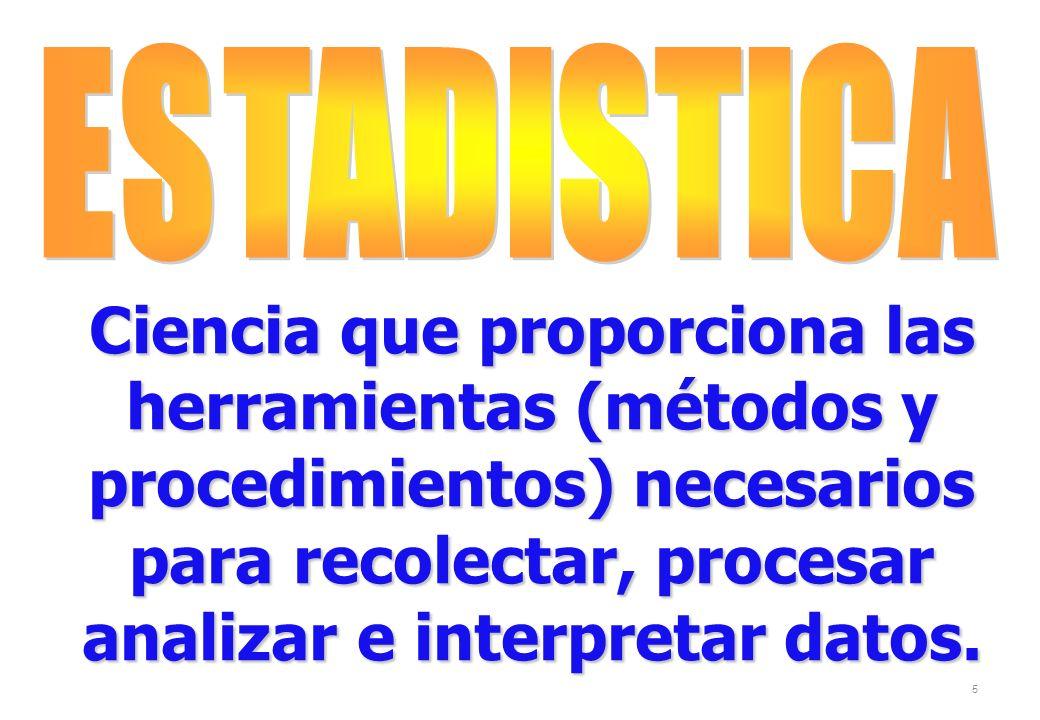 ESTADISTICA Ciencia que proporciona las herramientas (métodos y procedimientos) necesarios para recolectar, procesar analizar e interpretar datos.