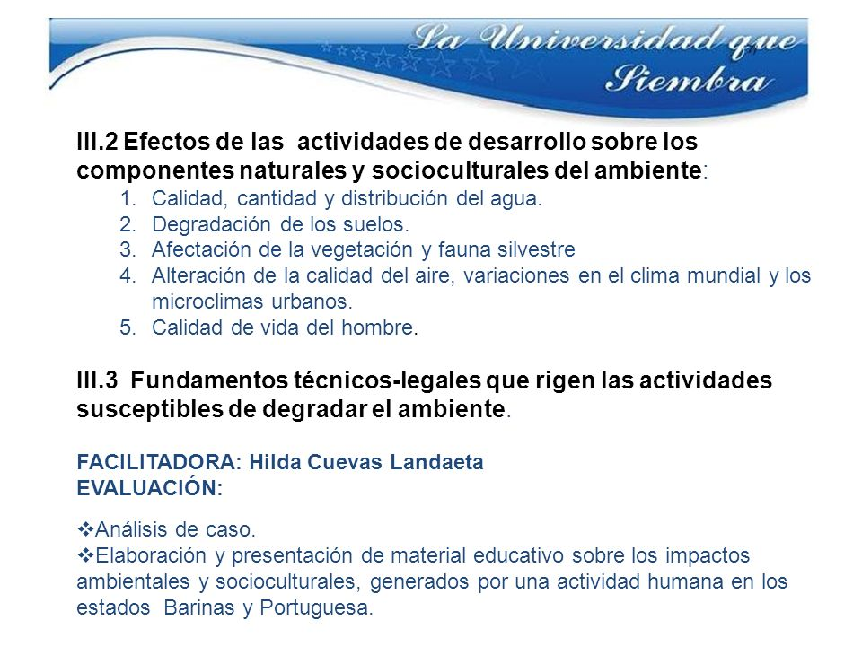 III.2 Efectos de las actividades de desarrollo sobre los componentes naturales y socioculturales del ambiente: