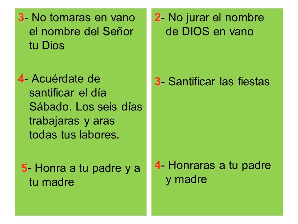 3- No tomaras en vano el nombre del Señor tu Dios