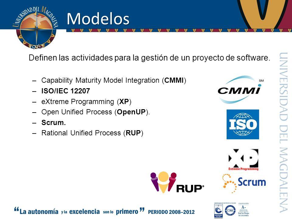 Modelos Definen las actividades para la gestión de un proyecto de software. Capability Maturity Model Integration (CMMI)