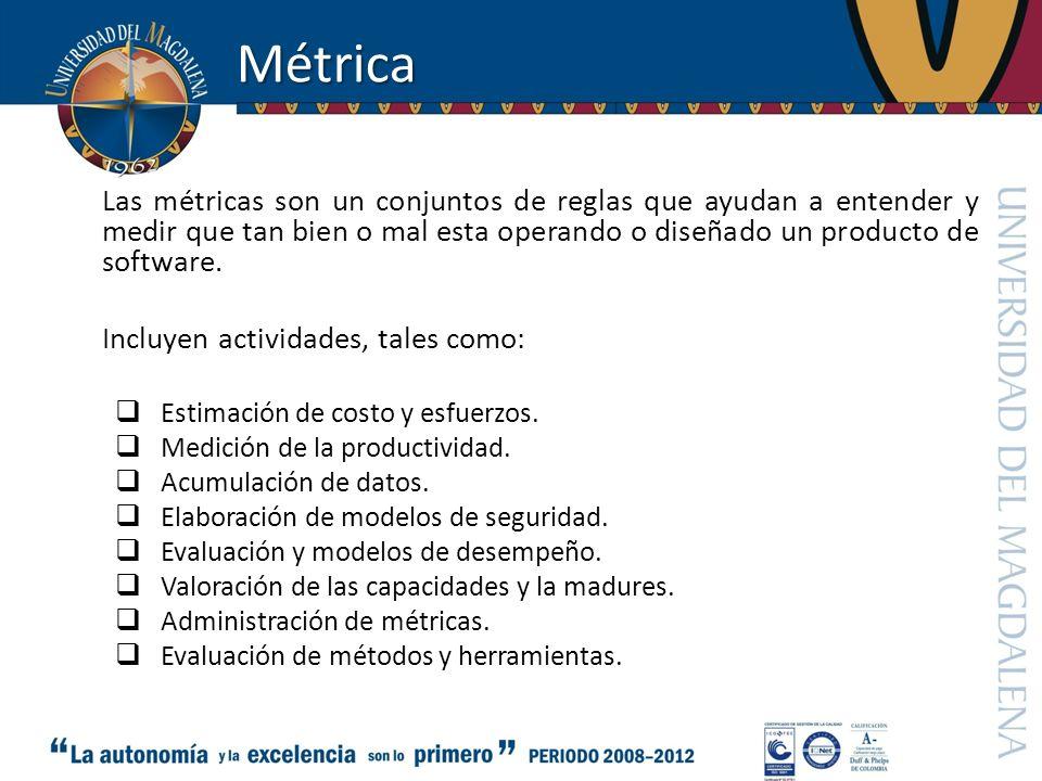 Métrica Las métricas son un conjuntos de reglas que ayudan a entender y medir que tan bien o mal esta operando o diseñado un producto de software.