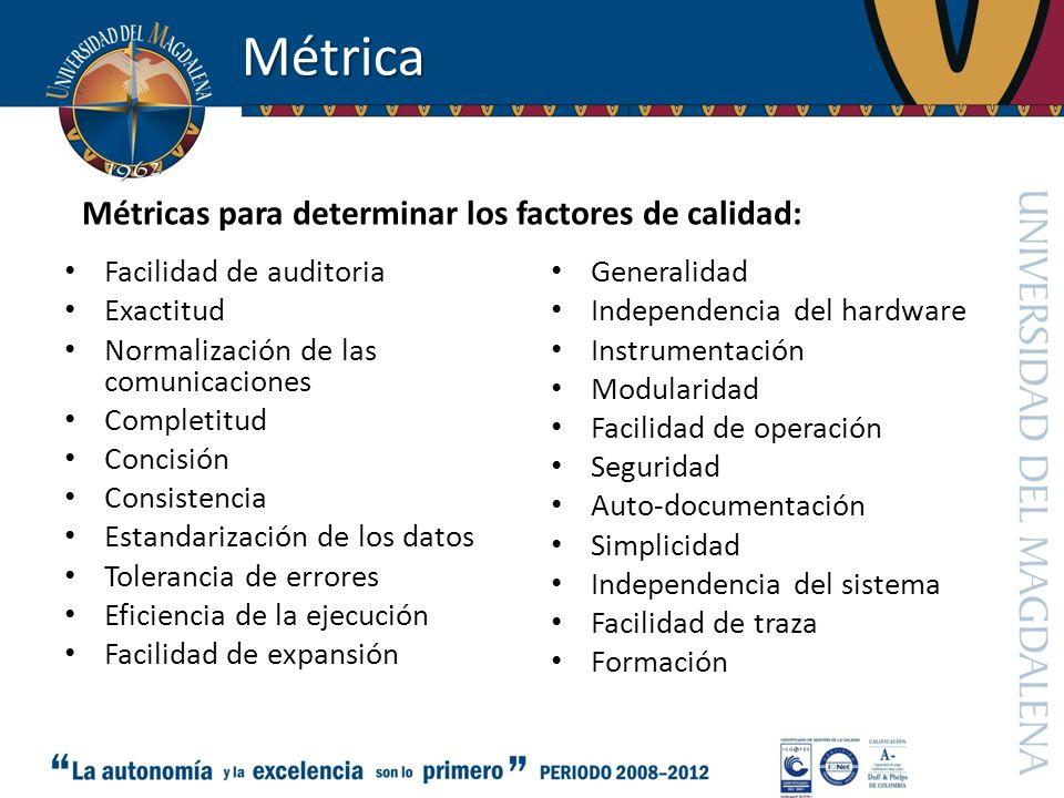 Métrica Métricas para determinar los factores de calidad: