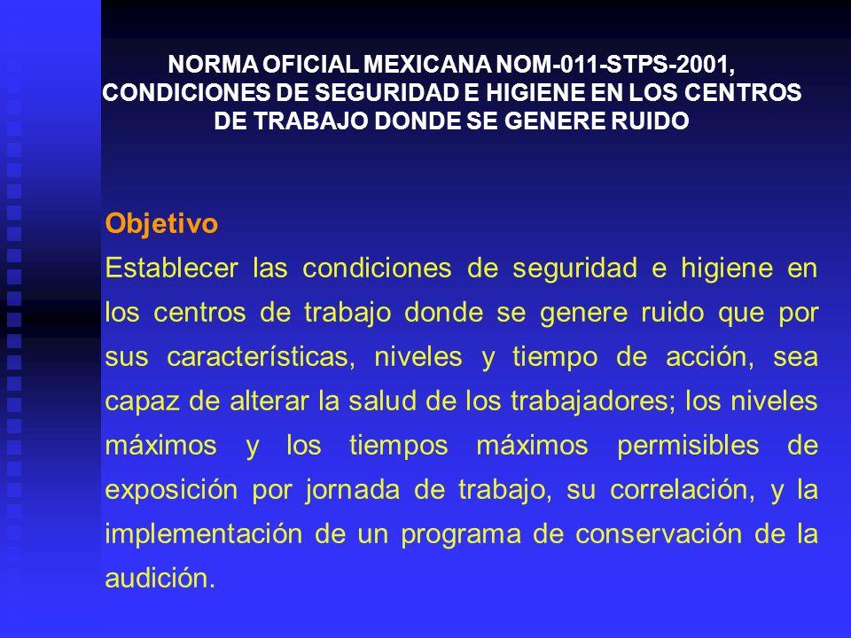 NORMA OFICIAL MEXICANA NOM-011-STPS-2001, CONDICIONES DE SEGURIDAD E HIGIENE EN LOS CENTROS DE TRABAJO DONDE SE GENERE RUIDO
