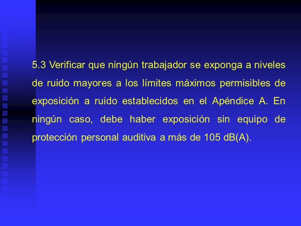 5.3 Verificar que ningún trabajador se exponga a niveles de ruido mayores a los límites máximos permisibles de exposición a ruido establecidos en el Apéndice A.
