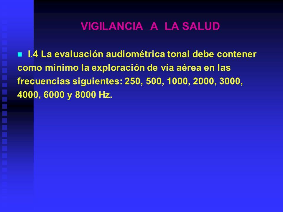 VIGILANCIA A LA SALUD I.4 La evaluación audiométrica tonal debe contener. como mínimo la exploración de vía aérea en las.