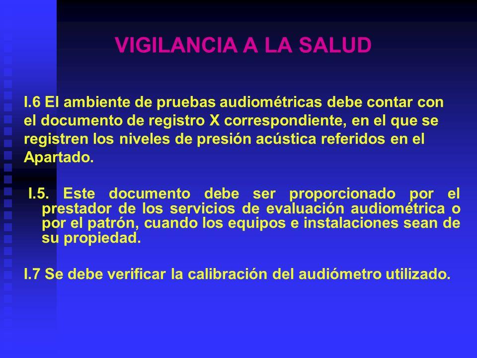 VIGILANCIA A LA SALUD I.6 El ambiente de pruebas audiométricas debe contar con. el documento de registro X correspondiente, en el que se.