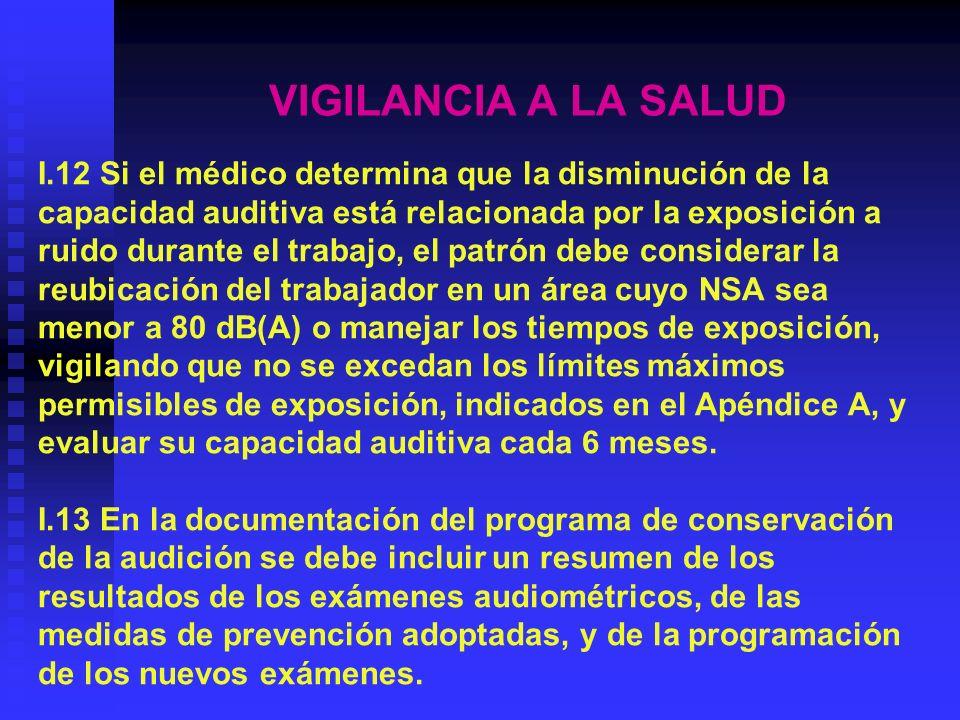 VIGILANCIA A LA SALUD I.12 Si el médico determina que la disminución de la. capacidad auditiva está relacionada por la exposición a.