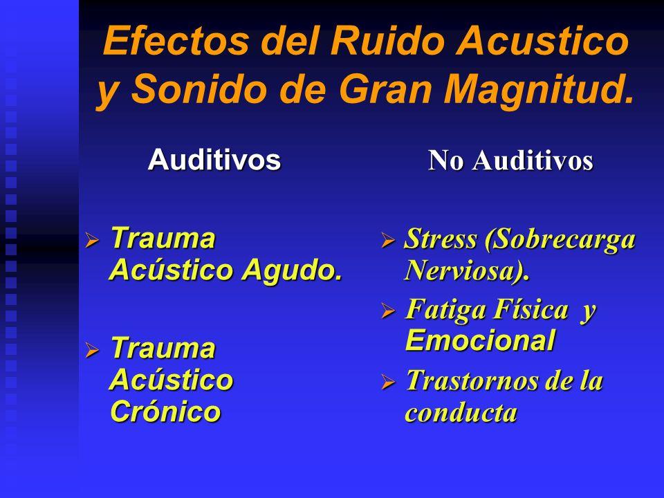 Efectos del Ruido Acustico y Sonido de Gran Magnitud.
