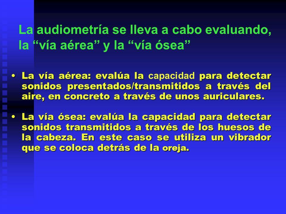 La audiometría se lleva a cabo evaluando, la vía aérea y la vía ósea