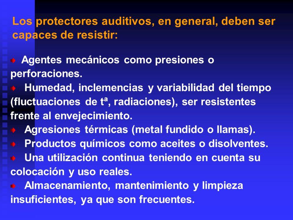 Los protectores auditivos, en general, deben ser capaces de resistir: