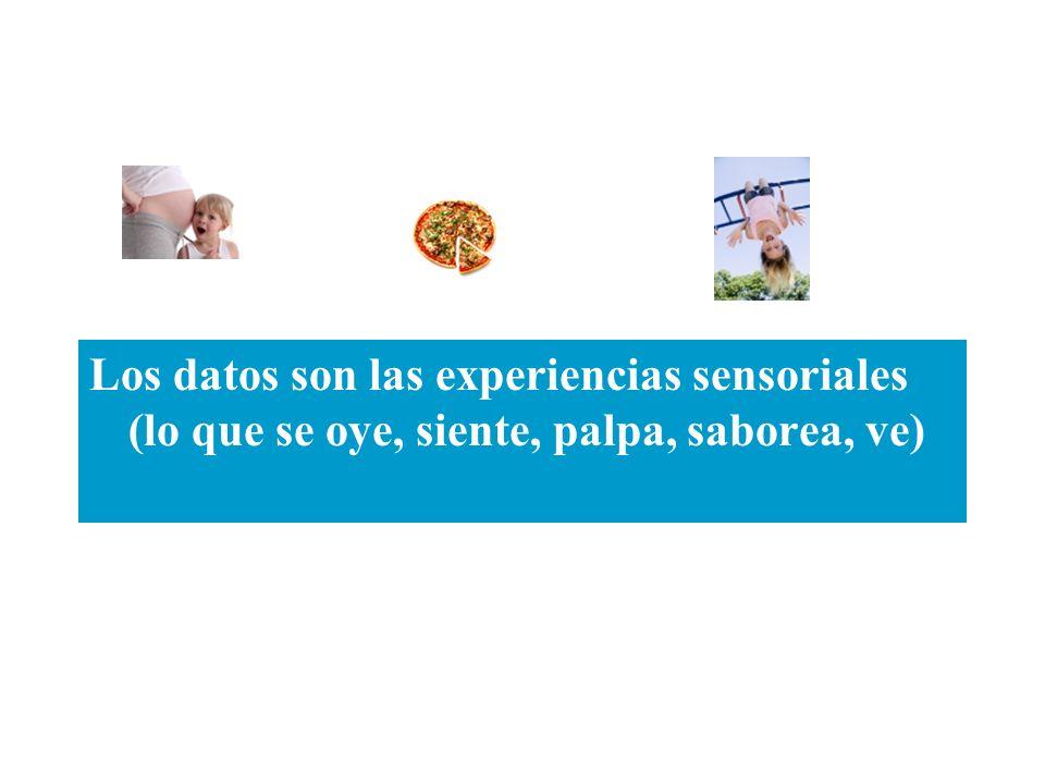 Los datos son las experiencias sensoriales (lo que se oye, siente, palpa, saborea, ve)