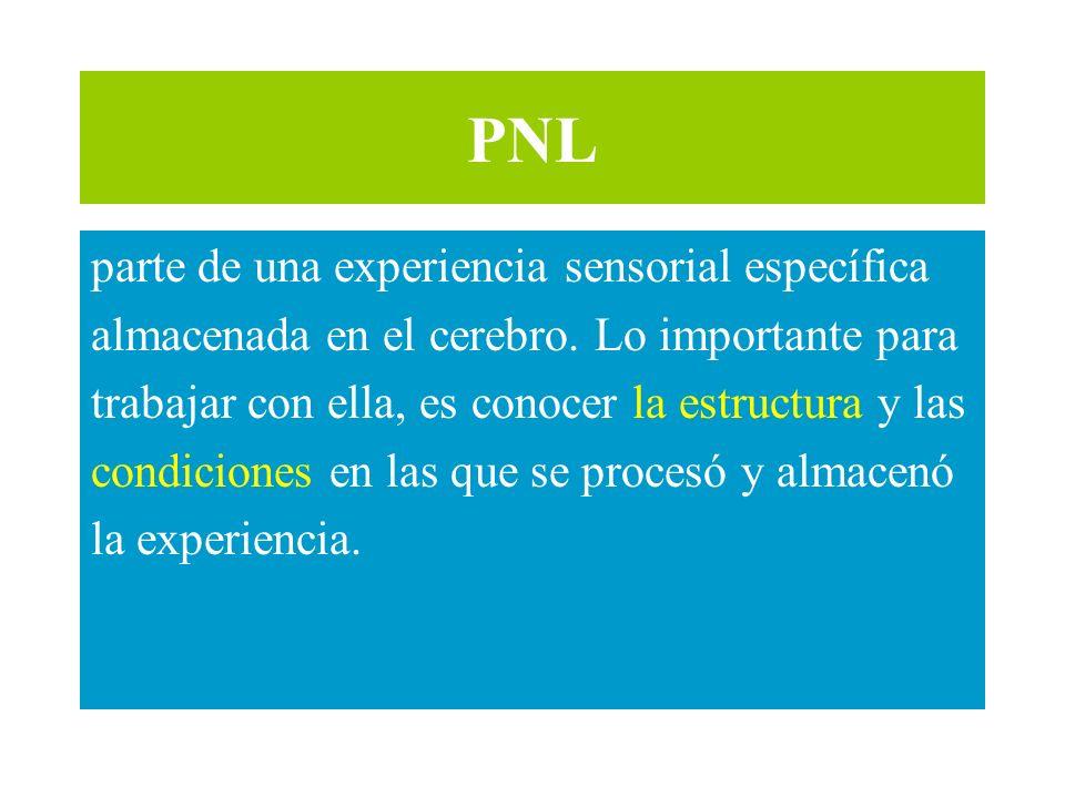 PNL parte de una experiencia sensorial específica