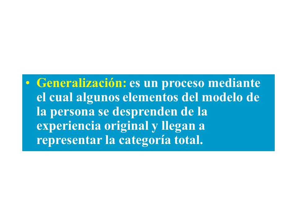 Generalización: es un proceso mediante el cual algunos elementos del modelo de la persona se desprenden de la experiencia original y llegan a representar la categoría total.