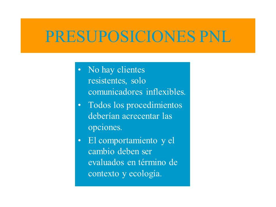 PRESUPOSICIONES PNL No hay clientes resistentes, solo comunicadores inflexibles. Todos los procedimientos deberían acrecentar las opciones.
